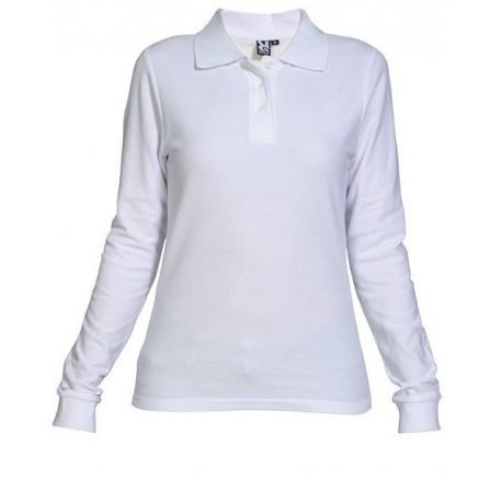 Bílé dámské tričko s límečkem, dlouhý rukáv